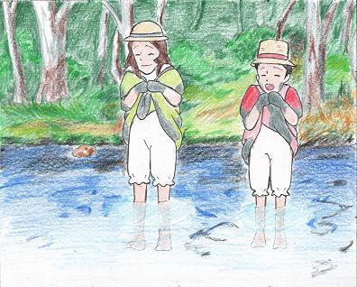 「お水が冷たいわ!」「いつの間にか秋になったんだ・・・。」